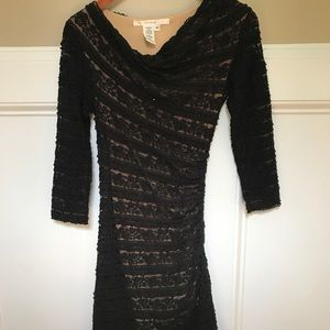 Studio M Dresses - Studio M  Lace Overlay Bodycon Black Dress XS